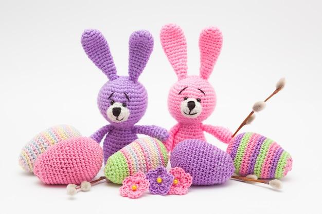 Knitted easter decor eggs, flowers , bunny. handmade, amigurumi