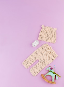 Knitted hat and pants for newborn baby, dummy and horse gingerbread on violet