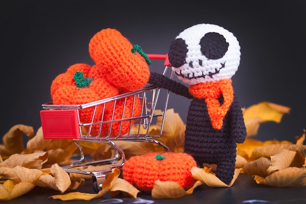 Knitted monster zombies and small pumpkins, handmade, hobby. amigurumi. halloween party decor