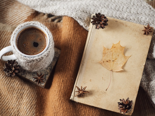 A knitted mug of hot coffee on a warm blanket and an old book