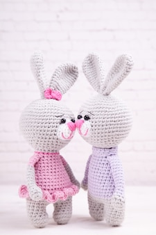 Knitted rabbit. festive decor. valentine's day. handmade, knitted toy, amigurumi