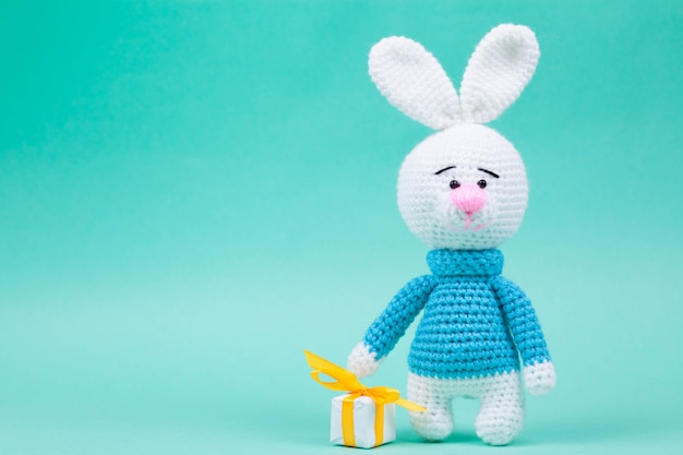 Knitted small rabbits handmade amigurumi