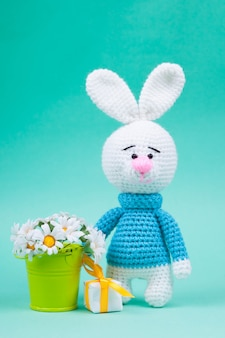 Knitted small rabbits handmade