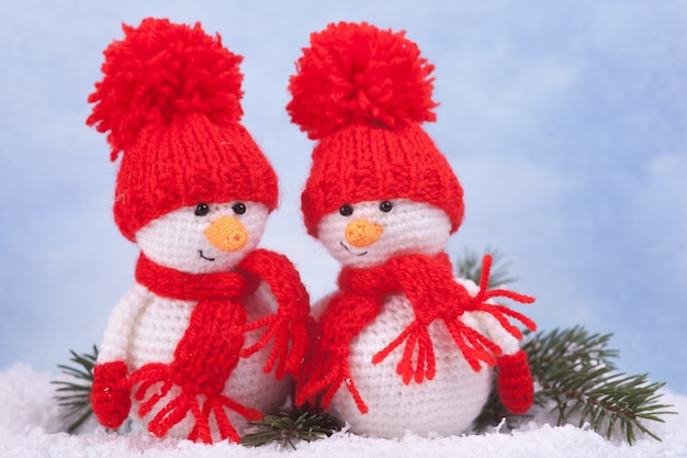 Knitted snowman, new year gift, christmas decor. knitted toy, amigurumi