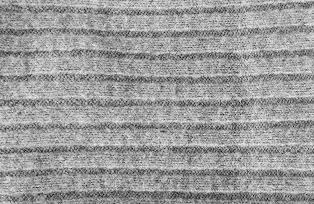 Knitted striped fabric texture background, gray textile pattern
