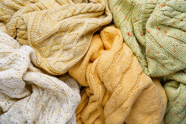 Knitted sweaters background