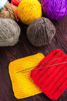 Knitting ball of yarn and knitting needles