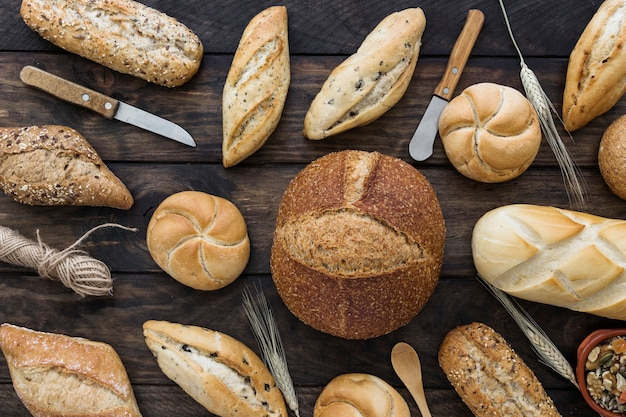 Knives and rope amidst bread