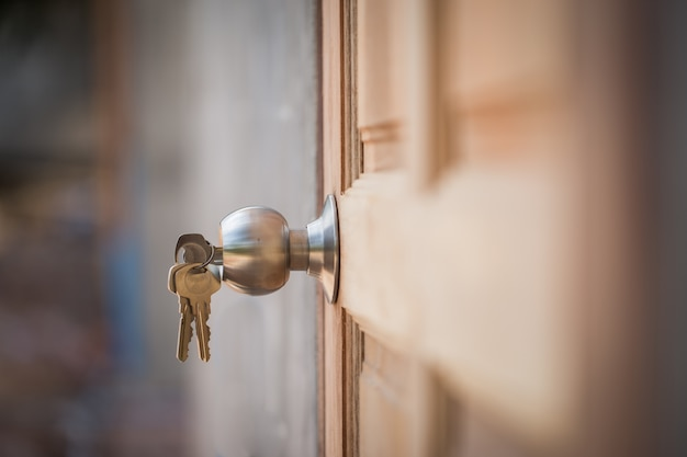 Knob, key and wooden door