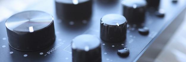 Knob for professional recording equipment black color sound volume adjustment concept