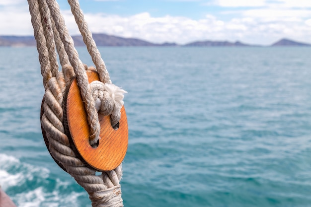 Knot closeup with sea background