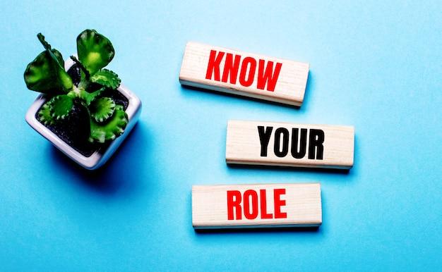 Know your roleは、鉢植えの花の近くの水色の表面にある木製のブロックに書かれています。