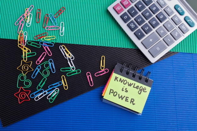 Knowledge is power concept top view flat lay