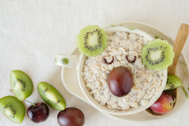 Koala bear oatmeal porridge breakfast, fun food art for kids