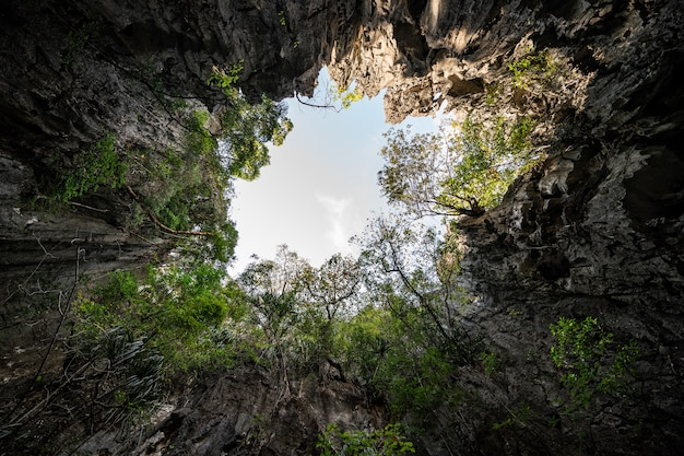절벽 벽으로 완전히 둘러싸인 석회암 섬인 phang nga bay의 koh hong은 거대한 홀처럼 보입니다.