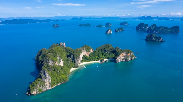 Koh hong or ko hong island in krabi andaman sea from above, beautiful island and beache of krabi, thailand.