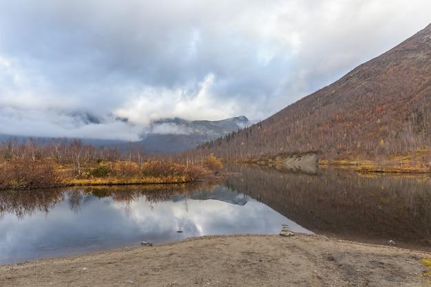 Kola peninsula, russia, tundra, beautiful lake, colorful autumn landscape