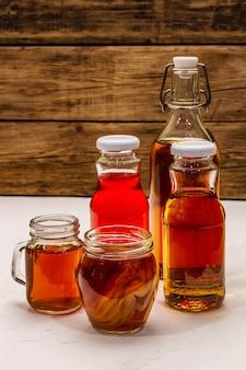 Kombucha in glass bottles
