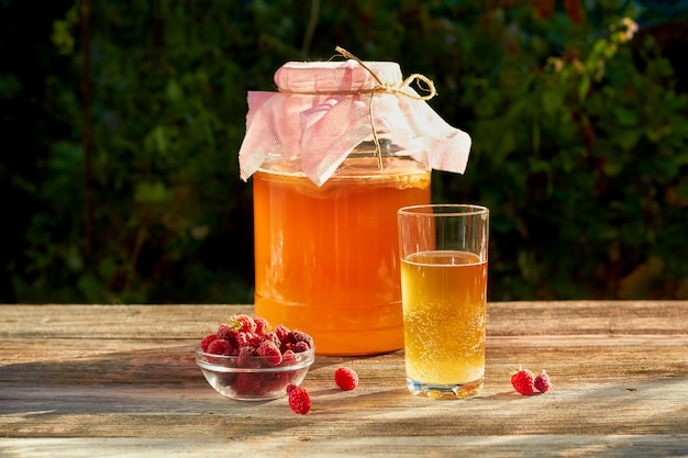 Kombucha is a drink produced by fermenting tea with symbiotic culture of bacteria.