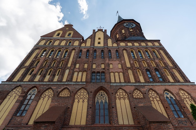 Konigsberg cathedral. brick gothic-style monument in kaliningrad, russia.