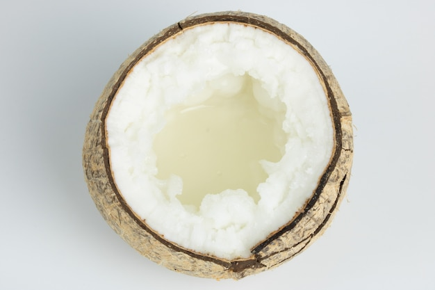 Kopyor coconut fruit isolated on white background