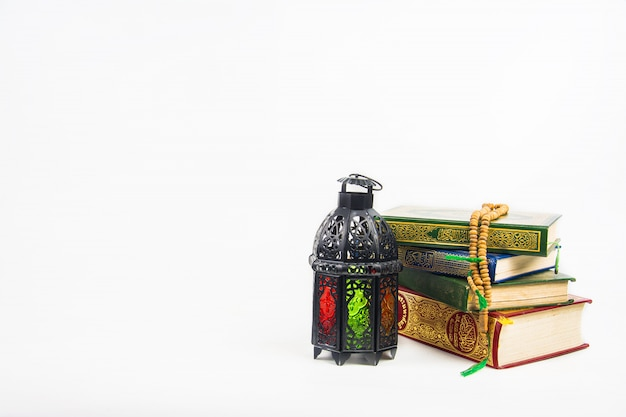 Koran, holy book of muslims with lightened lantern style arab or morocco