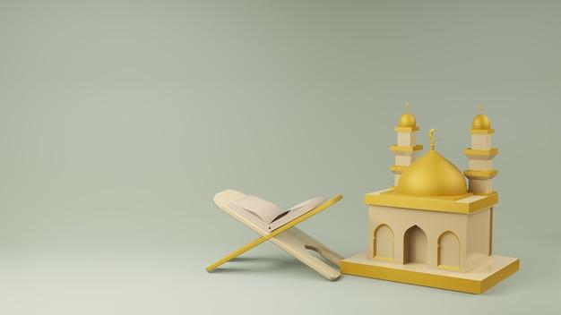 Koran and mosque 3d rendering
