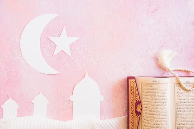 Koran and paper islamic symbols
