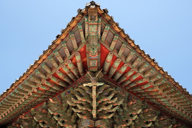 Korea buddhist temple traditional old roof painting