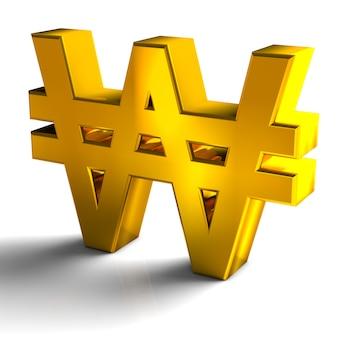 Корея выиграла символы валют золотого цвета 3d визуализации на белом фоне