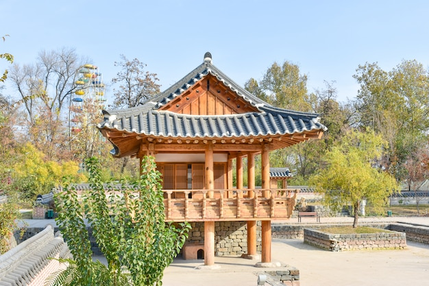 Korean architecture - a wooden pagoda in traditional korean style.