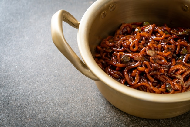 Korean black spaghetti or instant noodle with roasted chajung soybean sauce (chapagetti). korean food style