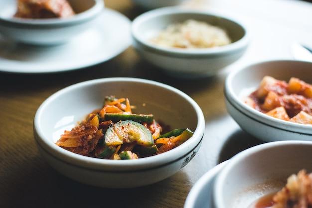Korean bowl of fermented vegetables in a restaurant