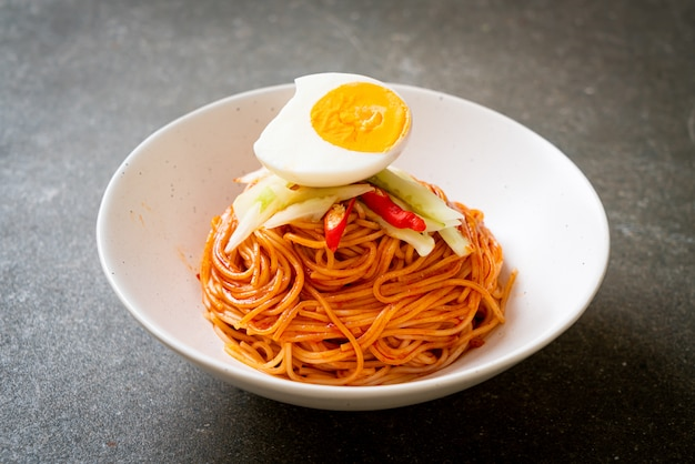 Korean cold noodles with egg