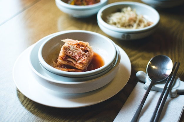 Korean fermented kimchi in a restaurant
