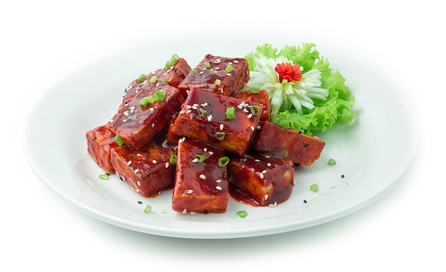 Korean fried tofu deep fried mixed in kochujung sauce