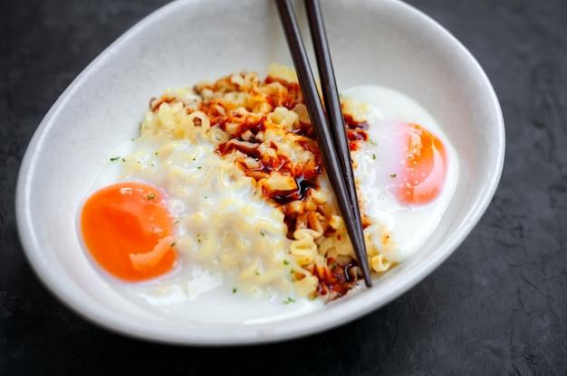 Korean hot spicy cheese flavor ramen instant noodles, stir fried noodle.