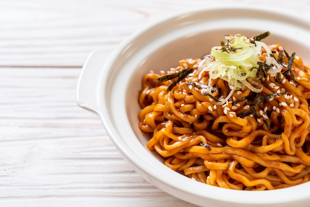 Korean hot and spicy instant noodle with kimchi