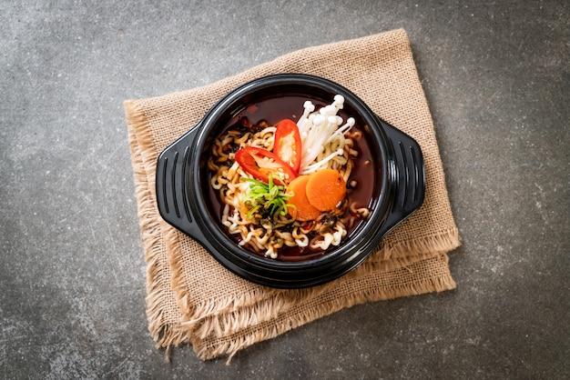 Korean instant noodles in black bowl
