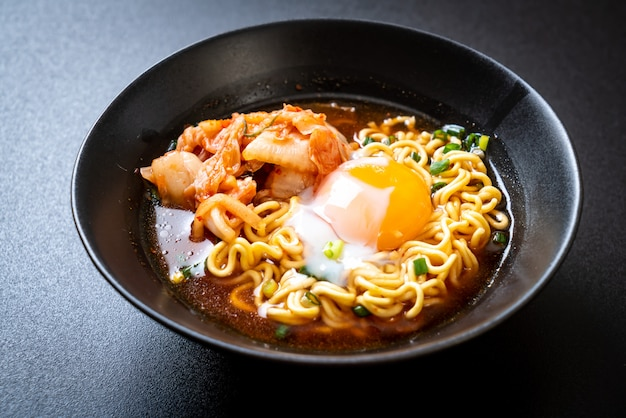 Korean instant noodles with kimchi and egg