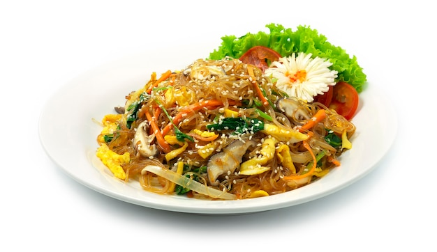 Korean japchae stir fried vermicelli noodles with mixed vegetables