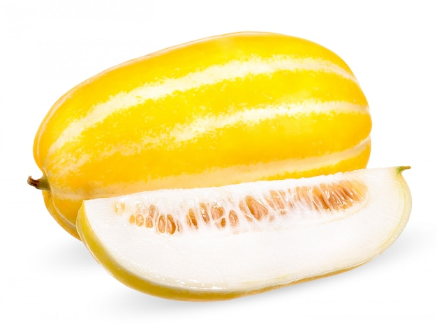 Korean melon isolated on white with clipping path