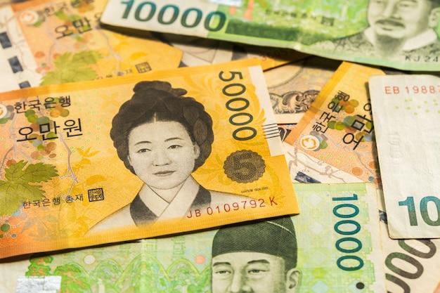 Korean money won banknotes