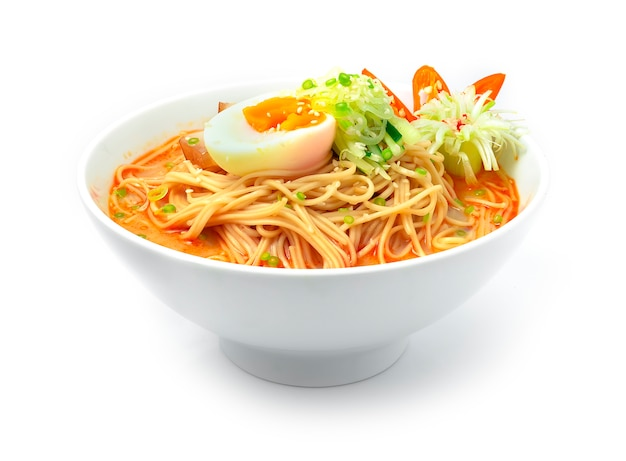 Korean noodles with spicy soup served boiled egg