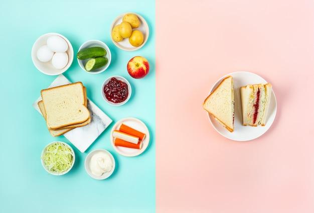 Korean sandwich inkigayo with ingredients