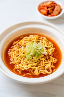 Korean spicy instant noodles with kimchi