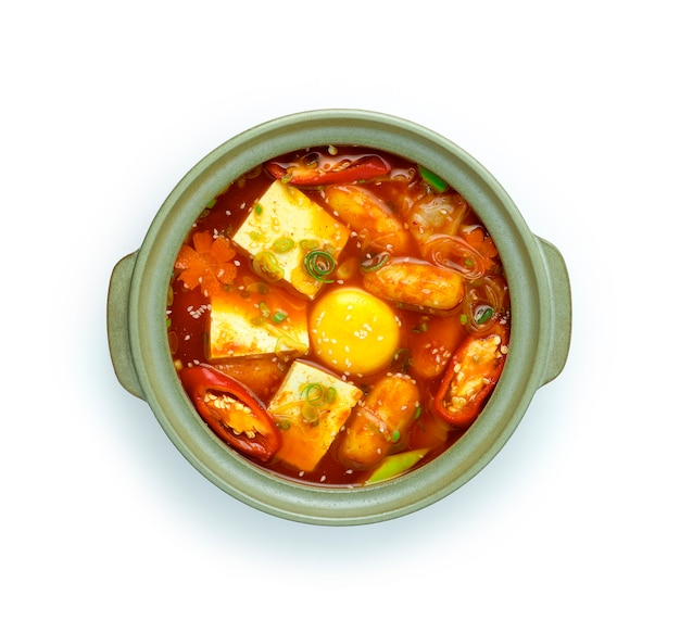 Korean spicy soup kimchi jjigae with tofu,egg yolk
