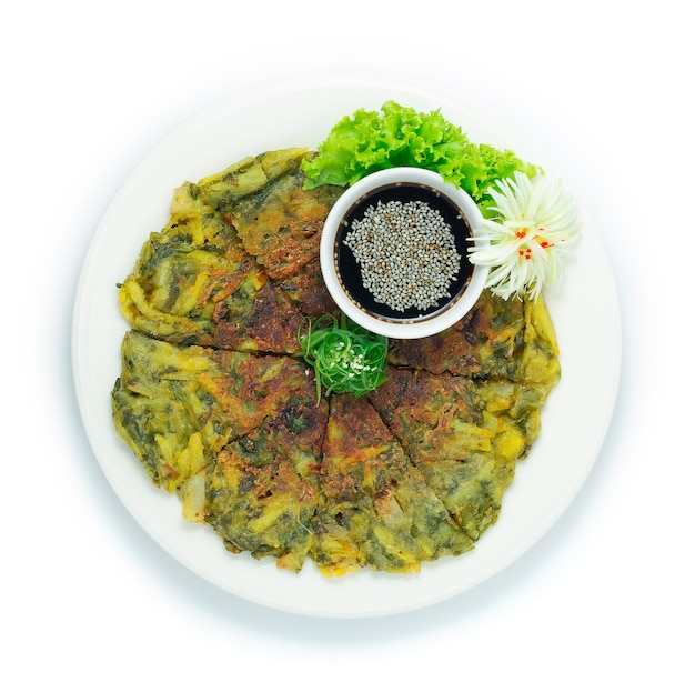 Korean spinach pancake vegetarian (yachaejeon)