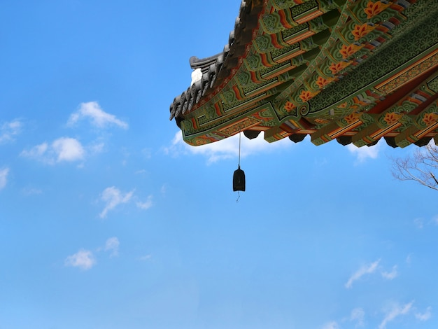Korean temple roof with bell.