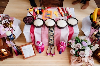 Korean traditional holiday doljanchi first birthday, decoration. asandi. observance of customs of their ancestors. work of decorator and organizer of event Premium Photo